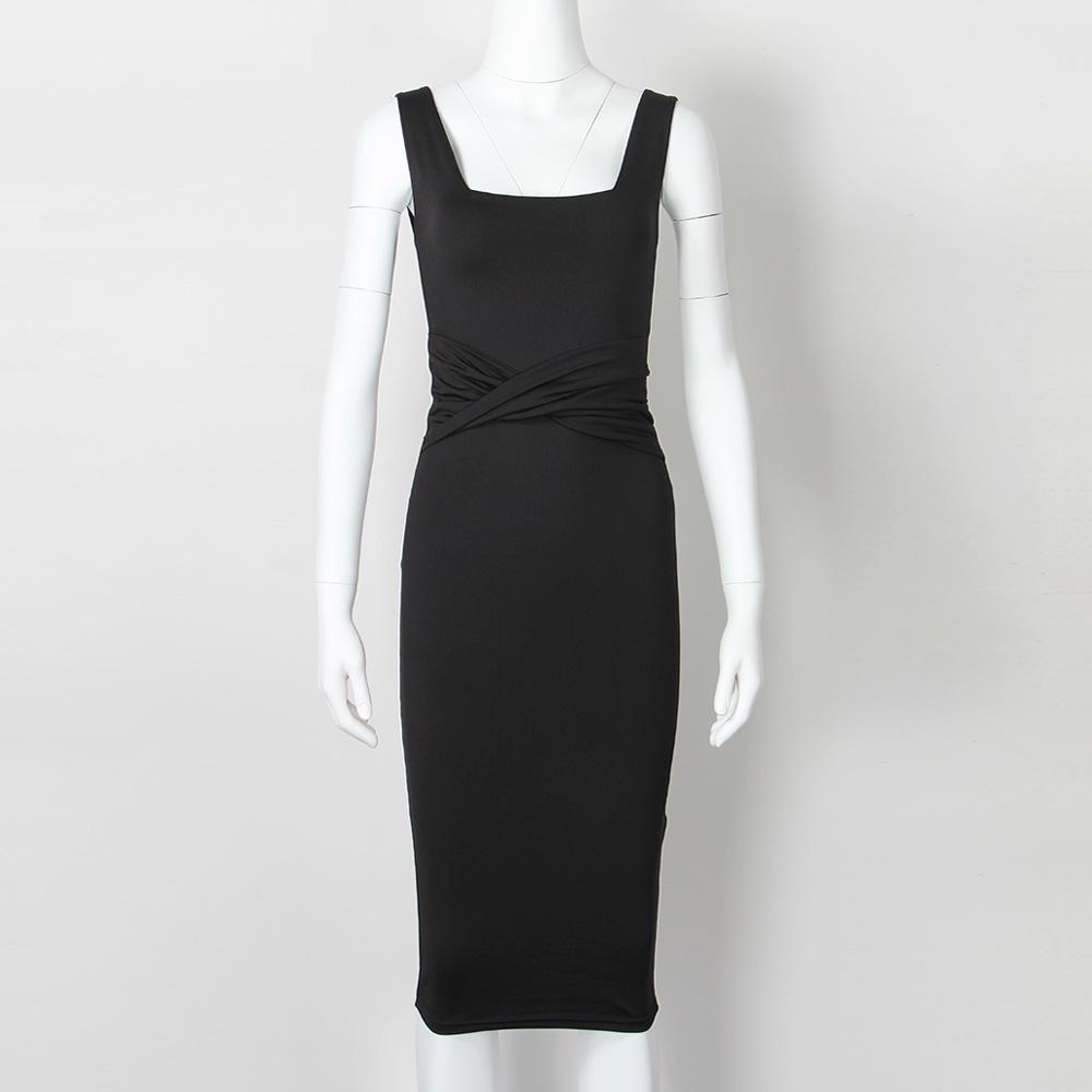 Women Summer Bodycon Dress 2018 Scoop Collar Sleeveless O-neck Sexy Midi Dresses Sheath Clubwear Femme Party Slim Dress GV575 2