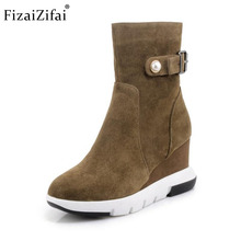 Fizaizifai Women Real Leather Half Short Boots Metal Beading Zipper Wedges Boots Warm Fur Winter Botas Women Footwear Size 34-39(China)