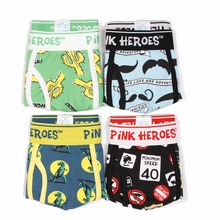 4pcs/Lot Pink Heroes Male Panties Cotton Men Underwear Boxers European and American Fashion Cartoon Printing Gay Boxer Shorts(China)