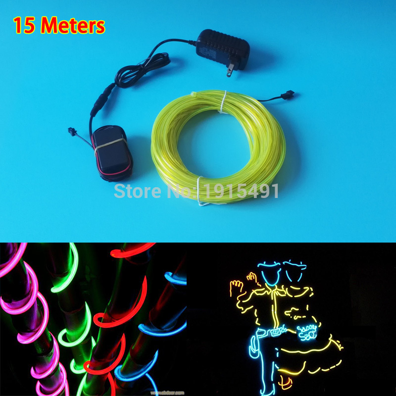 Hot Selling 15Meter 5.0mm 10 Colors Trendy EL wire glowing LED Strip +AC-220V Driver For Holiday Lighting,Halloween Decoration<br>