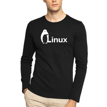 The Dark Knight LINUXEES penguin Logo T Shirt Men new Fashion Long-sleeved Brand wordart of LINUX Cotton T-shirt Free Shipping