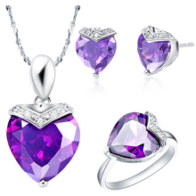 Romantic and Popular Women Wedding Party White Gold Jewelry Sets Heart  Shape Purple Zircon Necklace/Ring/Earrings T146-6#