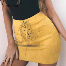 Buy Nadafair Lace-Up Pockets Yellow Pink Casual Women Suede Skirts High Waist Tube Bodycon Mini Skirts for $13.48 in AliExpress store