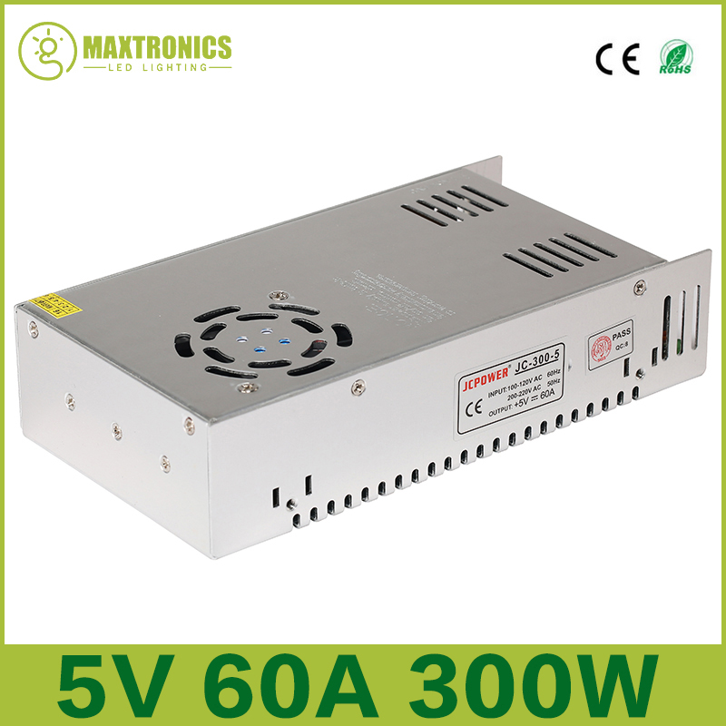 5V 60A 300W Switching Power Supply Driver for 5V WS2812B WS2801 LED Strip Light AC 110-240V Input to DC 5V Free shipping<br><br>Aliexpress