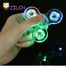 LED Colorful Night Light Transparent Crystal Fidget Finger Spinner Hand Spinner Gyro EDC ADHD Rotation Time Long Anti Stress