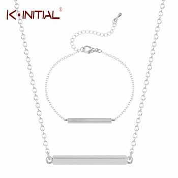 Kinitial 2pcs Gold Bar Pendant Jewelry Sets Silver Gold Plated Square Necklace Bracelet Set Princess Bijoux Link Chain Big Colar