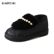 Hot warm winter the snow fell short fluff women's shoes Soft bottom diamond sequins casual shoes woman Lazy people set foot(China)