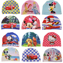 Kids Baby Boys Girls Cartoon mickey cars Waterproof Swimming Cap Hat Elasticity Bathing Hats Breathable Quick Dry Swim Cap