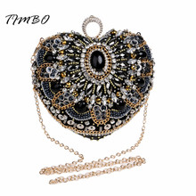 New Heart Shape Black Beaded Knucklebox finger ring Crystal Lock Satin Evening Bag Women Wedding Fashion Party Purse Clutch Bag