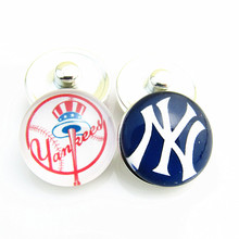 Sports Snap Button charm New York yankees MLB Baseball Team Snap Button  For Snap Button Jewelry 20pcs/lot