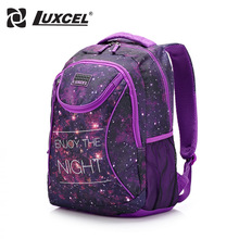 Luxcel two color fashion backpack casual women bag W/printing schoolbag for girls teenage rucksack mochila