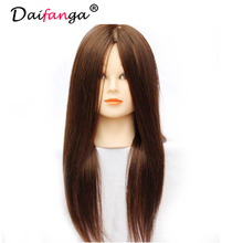 Training Mannequin Heads 90% Human Hair Mannequin Head with Long Hair Styling Hairdressing Doll Heads