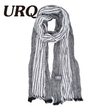 winter warm wrinkle strip vintage linen scarf for women lady soft classical most popular cotton blends high qiality big size(China)
