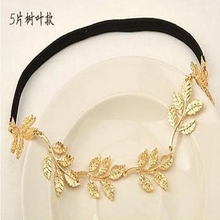 Women Hair Accessories Gold Olive Leaves Leaf Stretchy Hair Head Band Grecian Style Adornos Para El Pelo