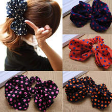 1piece Korean Style Polka Dot Big Bow Scrunchies Rabbit Ear Headband Ponytail Holder Hair Tie Band  Women Headwear Accessories