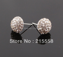 Free Shipping Flatback Half Crystal Disco Ball Shamballa Earrings Stud Boutique Fashion Studs Earring 10mm ZE07