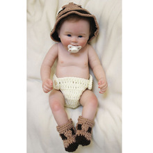 New Arrival Alive 20'' 50cm Reborn Baby Dolls With Big Hat Handsome Reborn Boy Doll Full Silicone Baby Doll For Sale Birth Gifts
