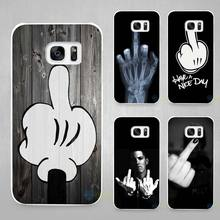 Bad middle finger Hard White Coque Shell Case Cover Phone Cases for Samsung Galaxy S4 S5 S6 S7 Edge Plus(China)