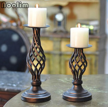 NOOLIM Metal Candle Holders Stand Pillar Iron Black Europe Candlestick For Candelabra Wedding Decoration Portavelas Candelabra