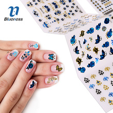 24Pcs/Set 3D Nail Art Stickers Bronzing Sliver Royal Blue Flower Mix Butterfly Style For DIY Nails Charms Water Sticker Decals(China)
