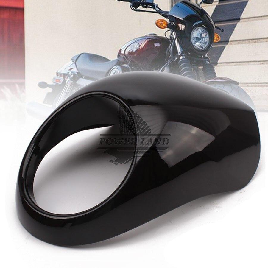 LightBlack Fork Headlight Fairing Mask With Hardware Front Fly Screen Racer Cowl Flyscreen Visor for Harley Sportster Dyna FX/XL<br>