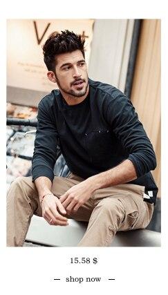 SIMWOOD 2018 Automne À Manches Longues T-shirt Hommes 100% Pur Coton Slim Fit Drôle de Mode De Poche Tops Haute Qualité TC017004 7