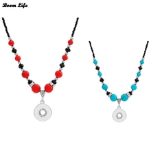 2 colors National style long chain bohemian necklaces & pendants NE398Women's 18mm snaps button necklace one direction