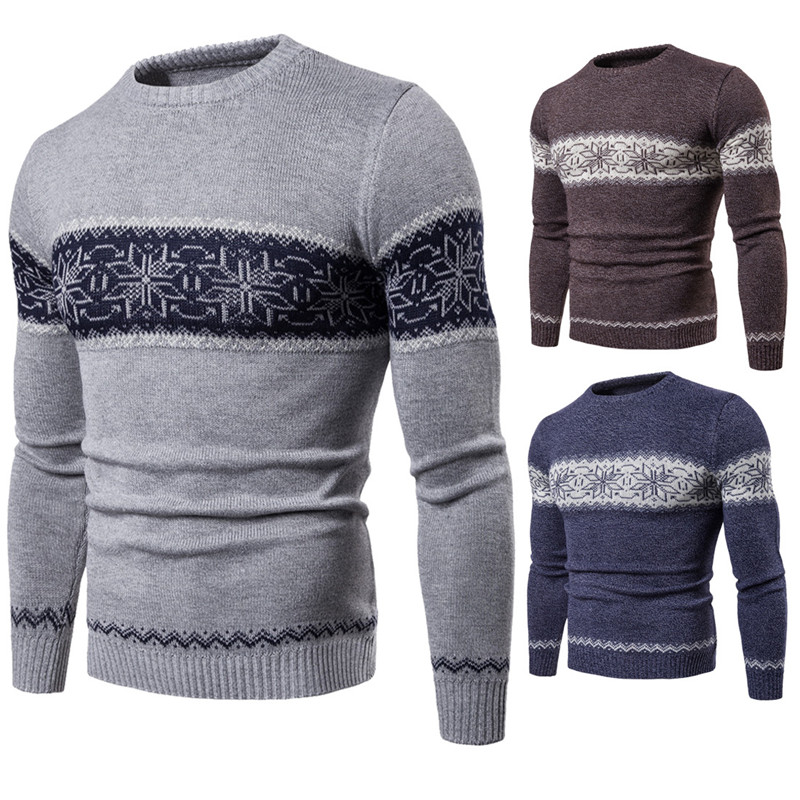 Men's Round Neck Pullover Slim Sweater Fashion Men Cotton Stitching Color Spot Knit Bottoming Shirt Male Autumn Winter