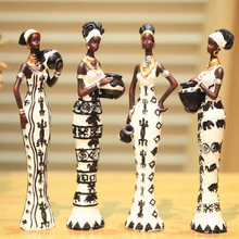 4pcs /lot  New africa figurines  resin model kit unique home decor Living room crafts ornaments girl