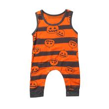 Sleeveless Kids Baby Clothes Boys Girl Pumpkin Romper Jumpsuit Sunsuit Outfits
