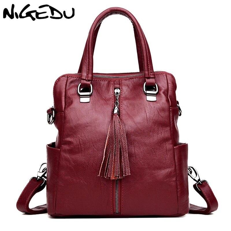 NIGEDU Fashion tassel Women handbags Female school Shoulder bags Travel Back pack Large capacity lady handbag PU leather Totes<br>