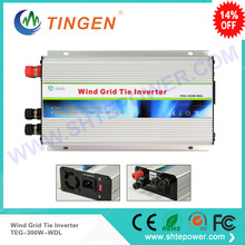 DC to AC 300w input 10.8-30v two choices output 90-130v 190-260v grid connected wind turbine generator for different countries(China)