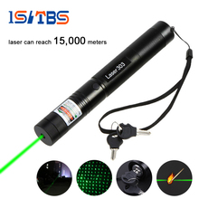 LED Flashlight 5000mw Laser 303 Laser Pointer High Power Green Laser Presenter Star Pattern Filter Safe Key with 18650 Battery(China)