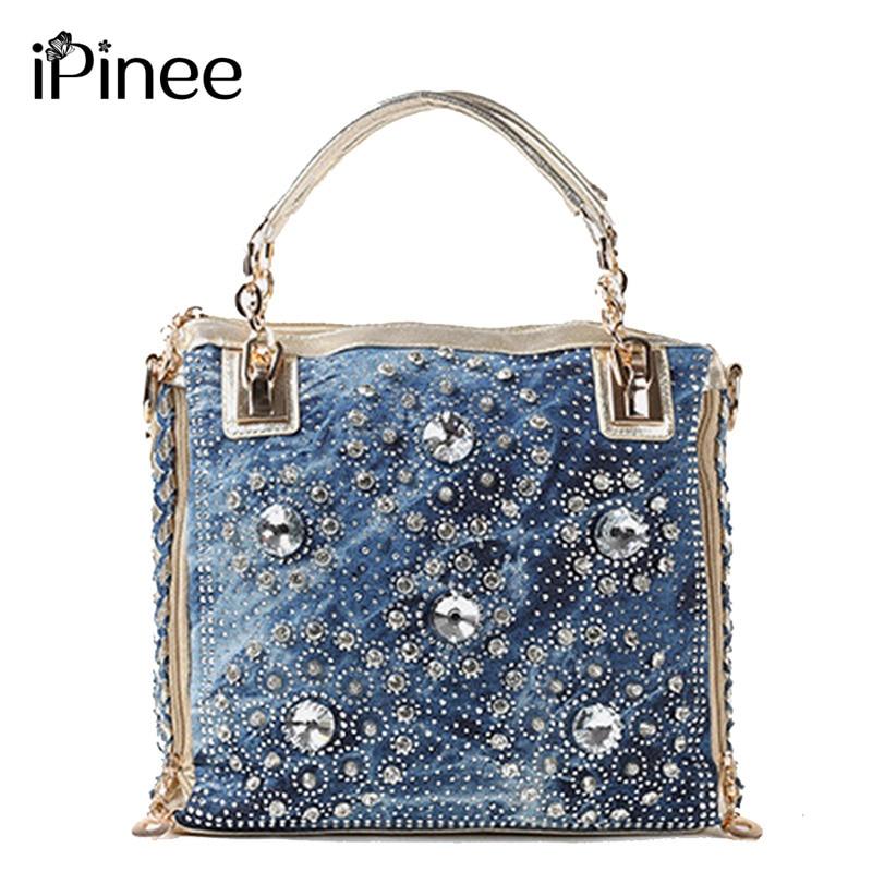 iPinee denim jean casual women handbags designer weaving shoulder bags rhinestone decorative womens messenger bag totes<br>