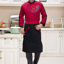 Kitchen Apron Half Apron with Two Pockets Chef Waiter Apron for Men Women Black Red(China)