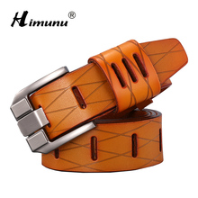 [HIMUNU] New Cowskin Genuine leather Men's belt Brand Belt for Man Pin Buckle jeans Vintage Top quality Design Accessories Belts(China)