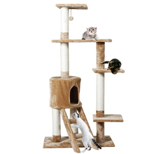 Domestic Delivery Cat Wood Furniture Pet Climbing Stairs Pet House Cat Scratcher Tree Kitten Play With Ball Product Training