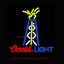 Super Bright Neon Bulbs Coors Light Oil Well Neon Sign Commercial Custom signs For Bar Neon Lamp Attract Real Glass Tube 24x24(China)