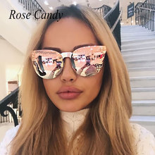 Rose Gold Sunglasses Brand Designer Women Skull Mirror Gothic Punk Sun Glasses Mirror Flat Lens Cat Eye Hot Sale Italy steampunk(China)