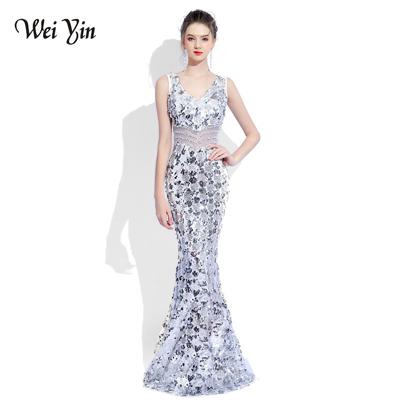 weiyin 2019 Luxury V Neck Mermaid Tulle Evening Dresses Crystal Sequin Zipper Long Evening Gowns Party Prom Dresses WEIYIN483(China)