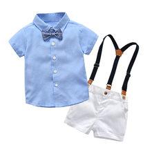 8aa4cdfc24 Bebê camisa xadrez gravata borboleta sólida bermuda cinta terno cavalheiro  Infantil Meninos Roupas T-Shirt Do Bebê Encabeça Calç.