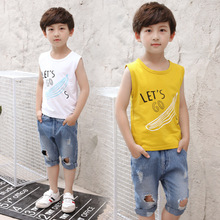 Catamite Summer Wear Suit Children's Garment New Child Vest Sleeveless Two Pieces Leisure Time Cartoon Kids Clothing Sets(China)
