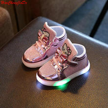 New Spring Autumn Winter Children's Sneakers Kids Shoes Chaussure Enfant Hello Kitty Girls Shoes With LED Light(China)