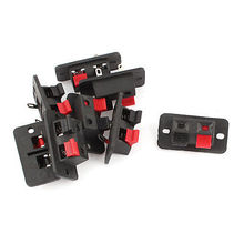 8 Pcs Speaker Box Terminal Binding Post Rectangle Cup 2-Way Connectors Black Red(China)