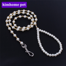 Fashion Pearl Pet Leashes Jeweled Pets Rope Chain for Dogs Puppy Cats Walking lead Leash For Dog Travel Shows Pet Supplies HPG11