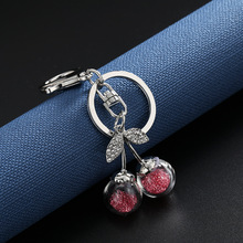 Key Rings Pendants for Gifts/ Luggage & Bags Accessories Car Keychains Phone Charms Diamond Crystal Cute Cherry Purse Hardware