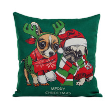 45*45cm Flax New Christmas Xmas Dog Throw Pillow Case Sofa Bed Decor Throw Pillow Cover Cushion Cover Pillowcase For Children