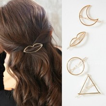 Free shipping! Wholesale Korean geometric circle hairpin round lips word side folder top clip hair ornaments female jewelry(China)
