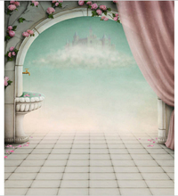 5x7FT Fairy Tale Clouds Castle Pink Flowers Branch Door Curtain Custom Photo Studio Backdrops Backgrounds Vinyl 220cm x 150cm(China)