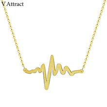 V Attract 2018 Unique Heartbeat Necklace For Women Stainless Steel Jewelry Fun ECG Charm kolye Anniversary Gift(China)